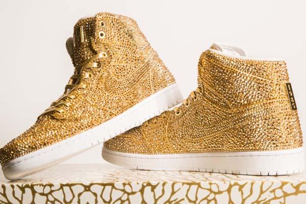 15,000 gold Swarovski Crystals Bejewel Jordan's Latest Sneaker Release