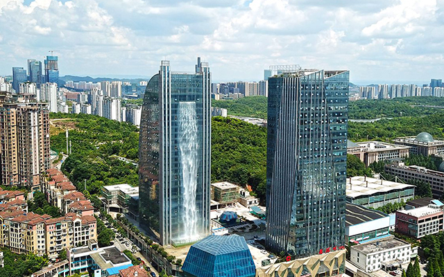 Mind-blowing, 350-foot Man-made Waterfall at the Center of a City